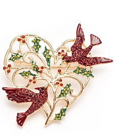 Gold-Tone Red Bird Heart Boxed Pin