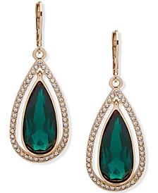 Gold-Tone Green Teardrop Orbital Earrings