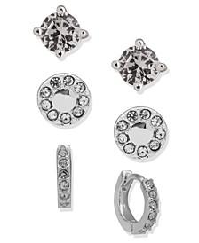 Silver-Tone 3-Pc. Set Crystal Stud & Hoop Earrings
