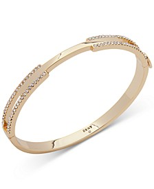 Gold-Tone Pavé Split Bangle Bracelet