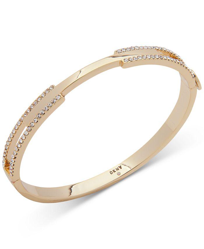 DKNY - Gold-Tone Pavé Split Bangle Bracelet