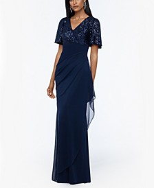 Sequined-Top Ruched Gown