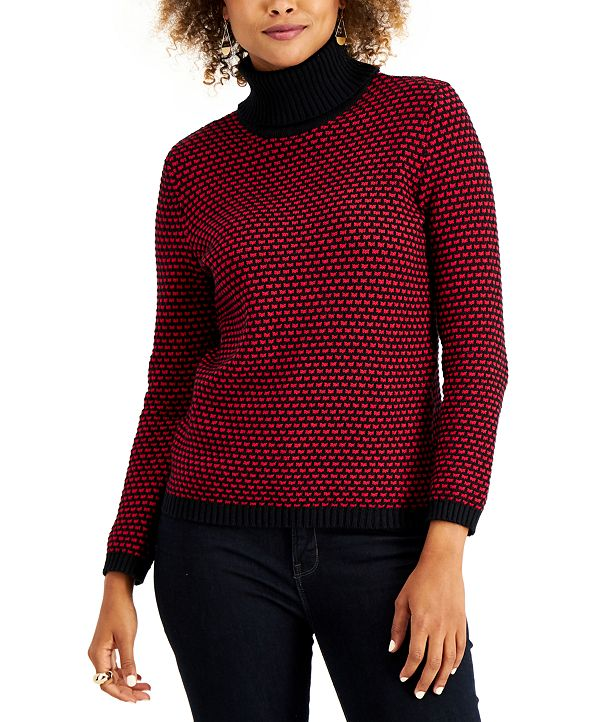 Karen Scott Cotton Textured Turtleneck Sweater, Created for Macy's