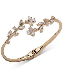 Anne Klein Gold-Tone Crystal Vine Hinge Bracelet