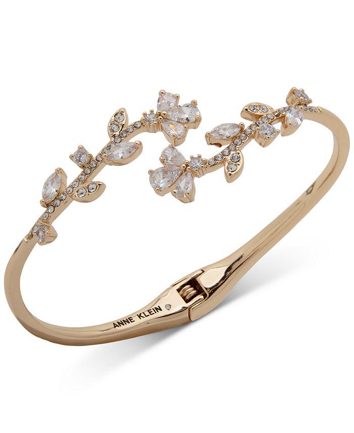 Anne Klein - Gold-Tone Crystal Vine Hinge Bracelet
