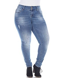 Women's Plus Size Paint Effect Light Blue Denim Jeans