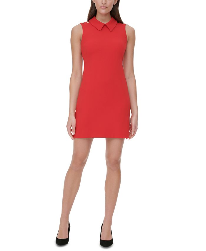 Tommy Hilfiger - Collared Scuba Crepe Sheath Dress