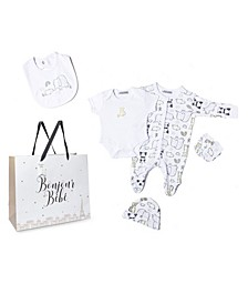 Baby Boys and Girls Animals Footie 5 Piece Layette Gift Set