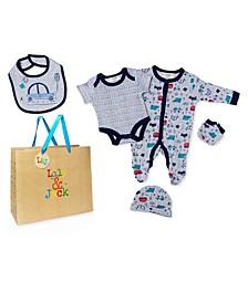 Baby Boys Transportation Footie 5 Piece Layette Gift Set