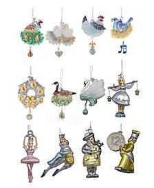 "3.5-4.75"" Noble Gems Twelve Days of Christmas Glass Ornaments, 12 Piece Set"