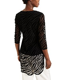 Zebra-Print Burnout Layered Tunic, Created for Macy's