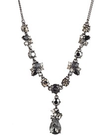 "Hematite-Tone Jet Stone Cluster Y Necklace, 16"" + 3"" extender"
