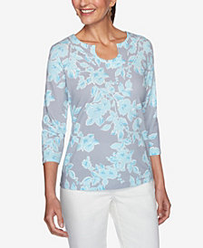 Ruby Rd. Plus Size Floral Printed Horseshoe Neckline Top