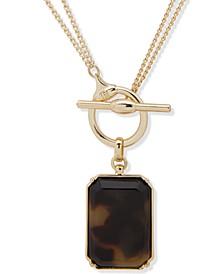 "Gold-Tone Tortoise 18""-36"" Convertible Pendant Necklace"