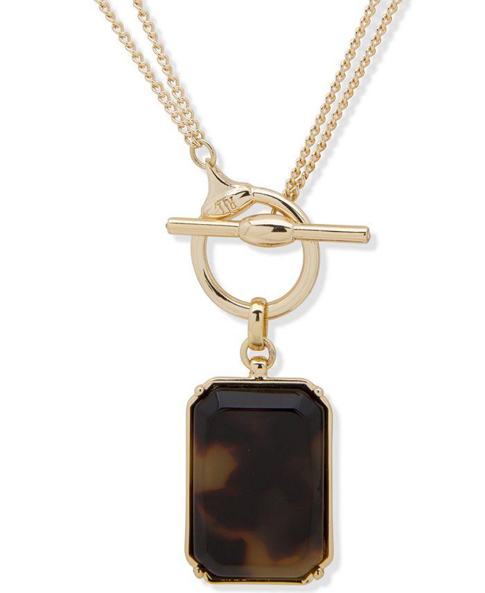 """Lauren Ralph Lauren - Gold-Tone Tortoise 18""""-36"""" Convertible Pendant Necklace"""