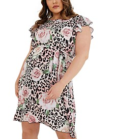 Trendy Plus Size Mixed-Print Fit & Flare Dress