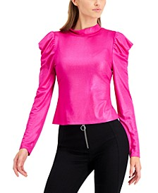 Metallic Long Puffed Sleeve Top, Created for Macy's