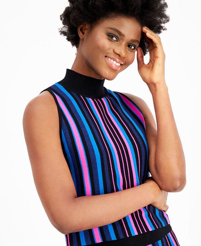 Bar III - Striped Sweater Tank Top