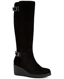 Women's Memory Foam Wide-Calf Sannaa Boots, Created for Macys