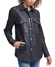 Faux Leather Button Down Jacket