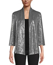 Sequined Open-Front Jacket