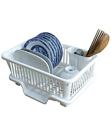 Vintiquewise Plastic Dish Rack with Drain Board and Utensil Cup