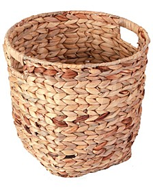 Water Hyacinth Large Round Wicker Wastebasket with Cut-out Handles