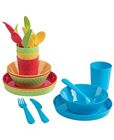 Vintiquewise 24-Piece Kids Dinnerware Set Plastic 4 Plates, 4 Bowls, 4 Cups, 4 Forks, 4 Knives, and 4 Spoons