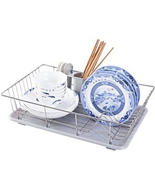 Vintiquewise Stainless Steel Dish Rack with Plastic Drain Board and Utensil Cup