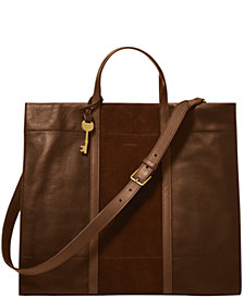 Fossil Women's Carmen Leather Tote with Applique Stripe
