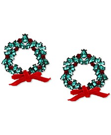 INC Hematite-Tone Red & Green Crystal Wreath Drop Earrings, Created for Macy's