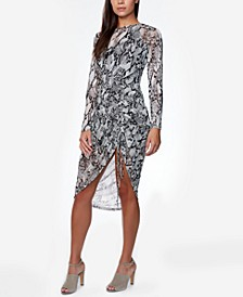 Juniors' Side-Ruched Snake-Print Dress