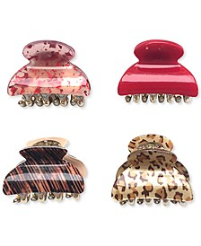 INC 4-Pc. Gold-Tone Mixed Print Claw Hair Clip Set, Created for Macy's