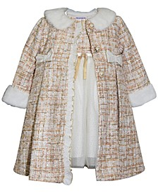 Blueberri Boulevard Baby Girls Tweed Faux Fur Trim Coat Dress