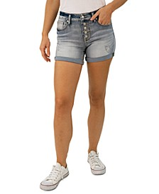 Juniors' Distressed Cuffed Denim Shorts