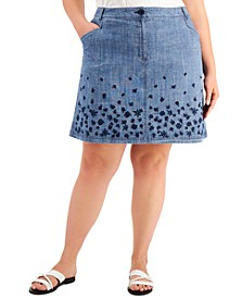 Plus Size Embroidered Denim Skirt, Created for Macy's