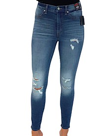 Juniors' Distressed Curvy High-Rise Skinny Jeans