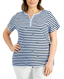 Plus Size Cat-Print Henley Top, Created for Macy's