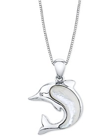 """Mother-Of-Pearl Dolphin 18"""" Pendant Necklace in Sterling Silver"""