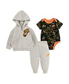 Baby Boys Bodysuit, Hoodie and Pants Set