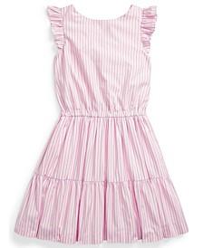 Big Girl Striped Tiered Cotton Dress