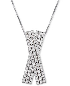 """Diamond Multi-Row Crossover 20"""" Pendant Necklace (1 ct. t.w.) in Sterling Silver, Created for Macy's"""