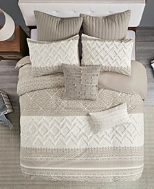 Mila 3 Piece Printed Duvet Cover Set with Chenille, California King