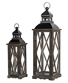 Set of 2 Black Farmhouse Wooden Lanterns With Diamond Window Frame