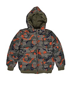 Big Boys Camo Full Zip Reversible Hooded Puffer Jacket