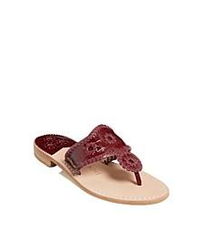 Women's Croc Embossed Flat Sandal