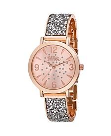 Women's Silver-Tone Alloy Bracelet Glitz Watch, 36mm