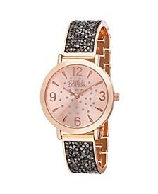 Women's Black Alloy Bracelet Glitz Watch, 36mm