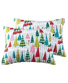 Home Merry Bright Holly Jolly Quilted Sham Pack of 2, Standard