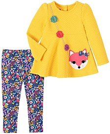 2 Piece Toddler Girl Quilted Fox Head Purse Tunic with Print Legging Set